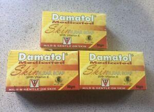 3 x DAMATOL  Medicated Hair/Scalp & Skin Treatment SOAP WITH VITAMIN E (3 Bars)