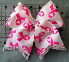 Breast Cancer Awareness Bling cheer hair bow
