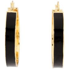 GORJANA Earrings Jax Enamel Black 40mm Hoop Earrings 18kt Gold Plated