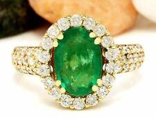 3.83 Carat Natural Emerald 18K Solid Yellow Gold Luxury Diamond Ring