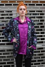 Jacke Sakko Blazer Glanz Blumen made in W. Germany 80er True Vintage 80s jacket