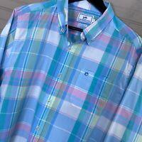 Southern Tide Classic Fit L/S Button Shirt Pastel Plaid Cotton Men's Size L