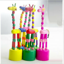 Kids Baby Wooden Hand Doll Animal Toy Dancing Standing Swing Giraffe Multi Color