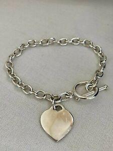 Sterling Silver 925 Bracelet  T -Bar Fastener Heart Pendant 7.5 Inch