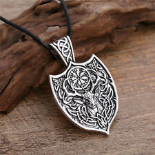 Viking Aegishjalmur Amulet Pendant Necklace Deer Sekira Viking Animal Jewelry