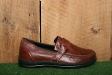 APEX 'Evelyn' Brown Leather Single Strap Loafers Comfort Shoes Women's Sz. 7.5 W