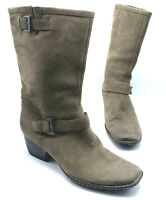 Born W21649 Women Brown Leather Mid Calf Boot Shoe Size 9.5M Pre Owned