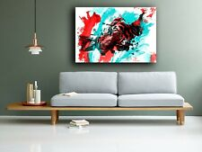 Tiger Paint Splash Splatter Red White Blue Painting Canvas Print Art Big Cat Eye