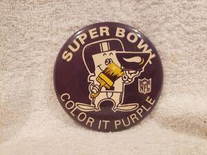VERY RARE 1970's Minnesota Vikings Super Bowl Color It Purple Button, VERY NICE!