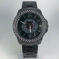 Express Womens IF059 Black Stainless Steel Crystal Dial Quartz Bracelet Watch