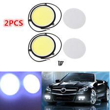 2pcs 90mm 12V COB LED Car Auto Round DRL Daytime Running Fog Light White Lights