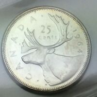 1964 Canada 25 Twenty Five Cents Quarter Canadian Graded ICCS XNI 238 Coin D083