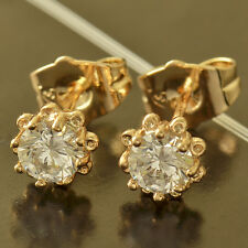 Lucky Womens yellow Gold Plate Crystal Flower cute small Stud Earring jewelry