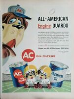 Lot of 3 Vintage 1956 AC Oil Filter Ads All American Engine Guards