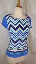 C Wonder Blue Chevron Stretch Silk Blouse White Purple Sleeveless sz XS