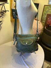 Fossil purse green leather messenger with front flap pocket & silver key