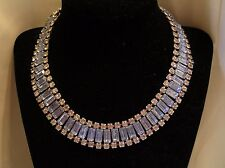 Amazing Vintage Choker Bib Blue & Clear Rhinestone Necklace Couture Deco Style