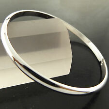 BANGLE BRACELET GENUINE REAL 18K WHITE G/F GOLD SOLID GOLF HINGED CUFF DESIGN