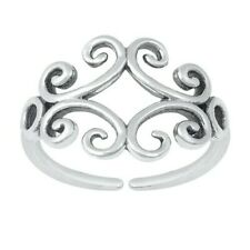 Toe Ring Genuine Solid Sterling Silver 925 Oxidized Adjustable Face Height 10 mm