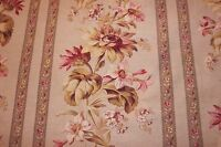 """Antique 19thC French Home Fabric Yardage Country Floral Stripe~2ydsLX32""""W"""