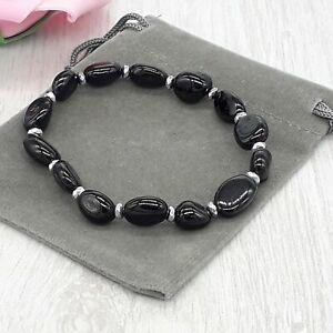 Handmade Natural Black Tourmaline Crystal Healing Gemstone Stretch Bracelet