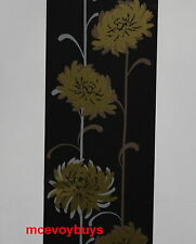 GLAMOUR FLOWER BLACK GOLD SELF ADHESIVE WALLPAPER BORDER (BNIP)