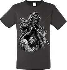 T Shirt im Graphiteton Totenkopf Biker Gothik-&Tattoomotiv Modell Grim Reaper