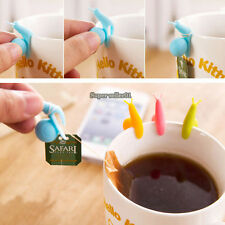 5Stk Exquisite Snail Form Silikon Tea Bag Holder Teebeutelhalter Cup Dekro DE