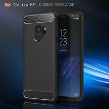 For Samsung Galaxy S9 Luxury Carbon Fiber Shockproof TPU Soft Case Back Cover