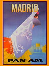 Madrid Spain Spanish Senorita Pan American Vintage Travel Advertisement Poster