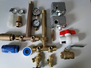 """BUILD YOUR WATER WELL PRESSURE TANK TEE INSTALL KIT 1"""" x 11"""" UNION BRASS NO LEAD"""