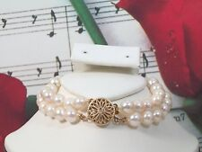 """Genuine Cultured Pearls 6.5 - 7mm Bracelet 7"""" With 14k GF Clasp.BR001"""