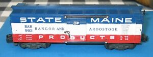 AMERICAN FLYER BAR 982 State of Maine Boxcar GOOD USED condition