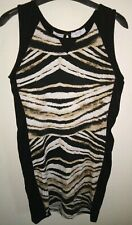 *BLUE INC* Size 12 Black Tiger Print Cotton Mini Dress, Sexy Slit On The Back!