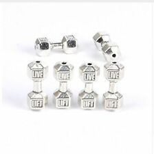 free 10Pcs Silver Gold Plated Barbell Dumbbell Spacer Beads Jewelry Making 20mm