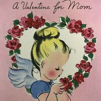 Vintage Mid Century Valentine's Day Greeting Card Cute Little Girl Angel Volland