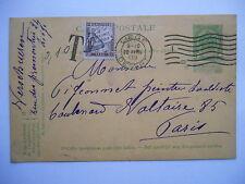 Entier postal 5cts vert armoiries + 10cts à percevoir (chiffre taxe) - 1909