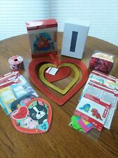 Lot Valentine Crafts Party Stickers Cards Red Heart Decorations White Box Ribbon