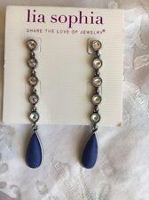 Lia Sophia Cote D'azure Matte Silver With Blue Lapis Earrings 3 1/2 Inches Long