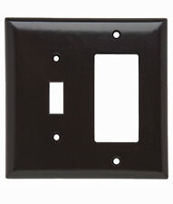 2 pk P&S Trademaster 1 TOGGLE SWITCH 1 DECORATOR TWO Gang BROWN wall plate cover