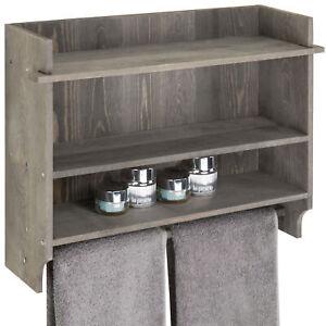 MyGift Rustic Gray Wood 3 Tier Bathroom Organizer Wall Shelf with Bath Towel Bar