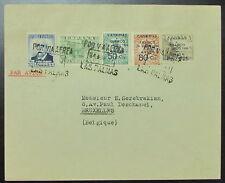 1937 Las Palmas Spain Civil War Censor Cover to Belgium Canary Island Overprints