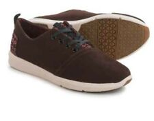 "* New * TOMS Mens ""dark earth"" Brown Suede Casual Lace Up Sneakers tribal 10"