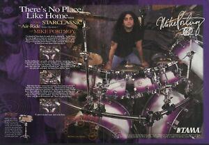 1996 2pg Print Ad of Tama Starclassic Purple Drum Kit w Mike Portnoy