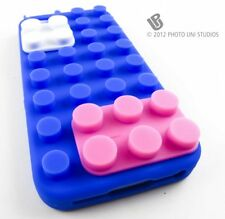 BLUE TOY BLOCKS SOFT SILICONE RUBBER SKIN CASE COVER APPLE IPHONE 5 5S SE