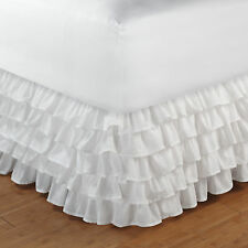 White Cotton Ruffles Queen Bedskirt : Layered Bed Skirt Dust Ruffled Princess
