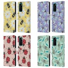 HEAD CASE DESIGNS WATERCOLOUR INSECTS LEATHER BOOK CASE FOR HUAWEI PHONES 4