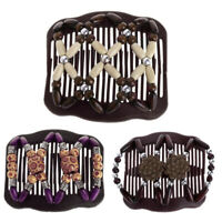 Qu_ Double Slide Clip Women Headwear Wooden Beads Magic Hair Comb Hairpin Proper