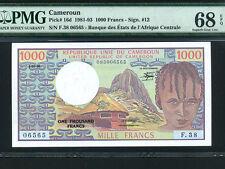 Cameroun:P-16d,1000 Francs,1983 * CAMEROON * PMG Superb Gem UNC 68 EPQ *