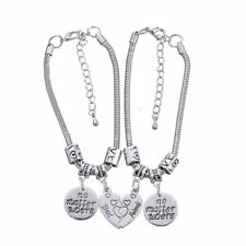 Heart No Matter Where Best Friend Bracelet Pendant Friendship Jewelry Charm 2pcs